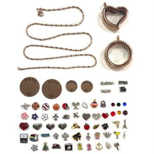 Picture of Rose Gold Lockets and Charms Set - While Supplies Last!